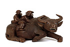 Old Chinese Wood Carved Water Buffalo Kid Figurine