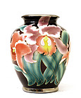 Old Japanese Cloisonne on Porcelain Vase Iris