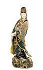 Meiji Japanese Satsuma Kannon Buddha Figurine Mk
