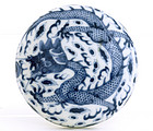 Early 20C Chinese Blue & White Dragon Ink Box Mk