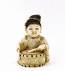 Old Japanese Carved Netsuke Child Play Drum Sg