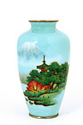 Japanese Wireless Enamel Cloisonne Vase Mt. Fuji
