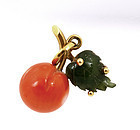 Chinese Coral Jade Apple Pendant with 18K Gold