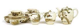 Old Japanese Satsuma Tea Set Teapot Crane Bird  Mk