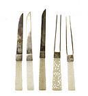5 19C Chinese Jade Carved Plaque Knife & Fork