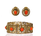 Old Chinese Silver Filigree Coral Bracelet & Earrings