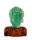 Early 20C Chinese Export Solid Green Fluorite Buddha