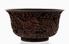 19C Chinese Cinnabar Dragon Bowl