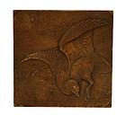 Old Japanese Wood Carving Goose Bird Panel Mk
