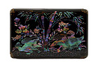19C Chinese Lacquer Burgaute Pearl Box