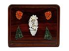 19C Chinese White Jade Agate Embellished Wood Panel