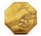Meiji Japanese Makie Octagon Lacquer Box Samurai