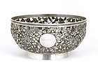 Early 20C Chinese Reticulated Silver Bowl Chrysanthemum
