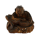 Old Japanese Wood Netsuke Farmer Figurine Mk