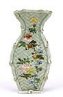 Japanese Celadon Imari Wall Vase Flower & Bird Mk