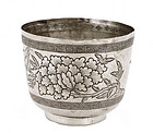 Early 20th Century  Silver Tea Cup Bowl Peony Flower Mk
