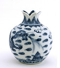 Chinese Blue & White Dragon Water Dropper Pomegranate