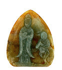 Early 20C Chinese Jadeite Plaque Quan Yin Buddha