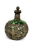 Old Chinese Silver Overlay Glass Perfume Bottle Mk