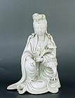 19C Chinese Blanc De Chine Dehua Quan Yin Buddha