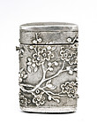 Early 20C Chinese Silver Match Safe Wisteria Mk