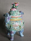 Late 18C Style Famille Rose Censer Qianlong Mark 19/20C