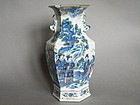Rare Six-Sided Chinese Doucai Vase, 19th Century