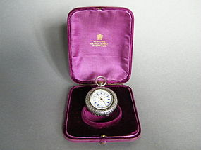 Cased French Ladies Silver Pocket Watch c1890-1910