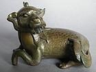 Rare Mid 17th C  Bronze Qilin Paper Weight , c1620-1680