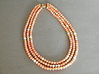 Antique Coral Pearl & 14K Gold Necklace circa 1890-1910