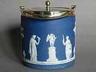 1920s/1930s Wedgwood Blue Jasperware Biscuit Barrel