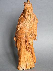 20th Century Camphor Wood Carving Guangong Guandi
