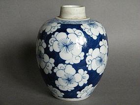 19th/20th C Kangxi Style Prunus Pattern Jar c1875-1915
