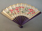 Hand Painted Japanese Paper Ladies Fan circa 1920-1940