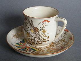 Late 19th C Satsuma Tea Cup & Saucer  - signed Taizan