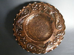 30cm Copper Arts and Crafts Plaque circa 1890-1910