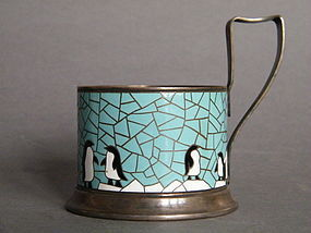 Enamelled Soviet Russian Tea Glass Holder circa 1950s