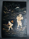 Japanese Lacquered Wood Panel Meiji Period 1868-1911