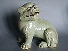 Celadon Glazed Porcelain Lion Mid Qing circa 1780-1820