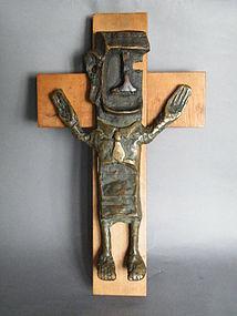 Rare Arthur Dooley Bronze Crucifixion Sculpture c 1960s