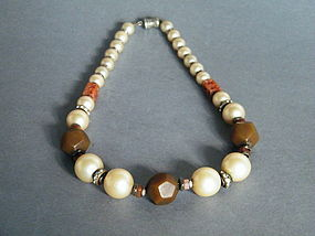 1930s Faux Pearl Bakelite & Carved Carnelian Necklace