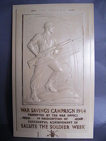 "1944 ""Salute the Soldier"" Bakelite Commemorative Plaque  **SOLD**"