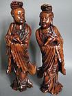 Fine & Rare Pair Large Carved Hardwood Guanyin circa 1750
