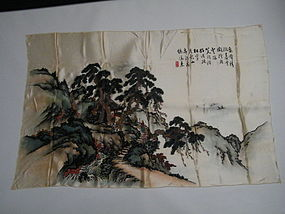 Chinese Silk Suzhou Embroidered Landscape, c 1930-1960