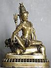Rare Antique Tibetan Bronze Bodhisattva Simhanada Lokesvara