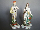 "Pair Staffordshire Pearlware Figures ""Neptune & Venus"" circa 1790-1810"