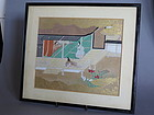 Japanese Painting 'Scene from The Tale of Genji', **SOLD**
