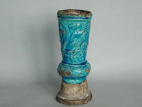 Chinese Ming Dynasty Turquoise Glazed Altar Vase, 1368-1644