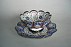 Qajar Style Persian Enamel Bowl and Stand c1850 -1950