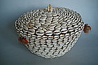 Early 20th Century African Cowrie Shell Basket & Cover